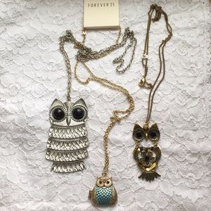 Owl necklace trio